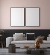 Leinwanddruck Bild - Mockup poster in minimalist modern living room interior background, 3D render