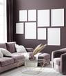 canvas print picture Mockup poster in dark violet monochrome modern living room interior background, 3D render