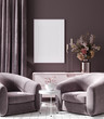 Leinwanddruck Bild - Mockup poster in dark violet monochrome modern living room interior background, 3D render