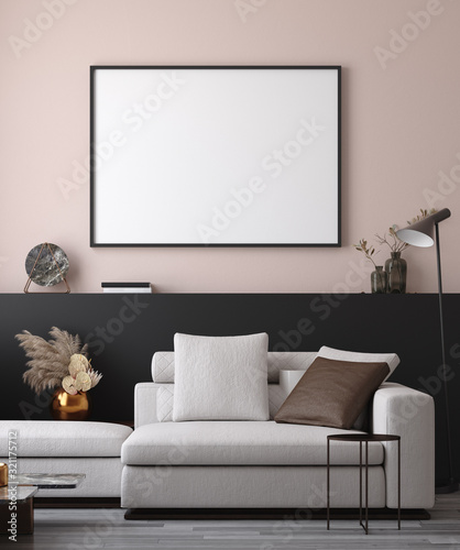 mata magnetyczna Mockup poster in minimalist modern living room interior background, 3D render