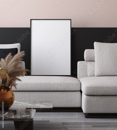 obraz lub plakat Mockup poster in minimalist modern living room interior background, 3D render
