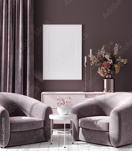 obraz lub plakat Mockup poster in dark violet monochrome modern living room interior background, 3D render