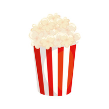 Delicious Popcorn In Container Isolated Icon Vector Illustration Design