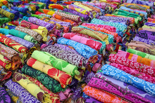 Rolled Up Colored Fabrics Tied...