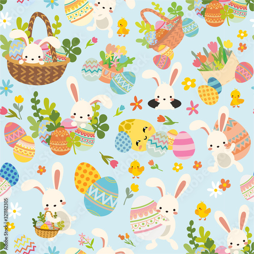 Leinwand Poster Seamless easter pattern with white bunny, rabbit with decorative ornamental eggs and spring bright flowers