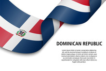 Waving Ribbon Or Banner With Flag Dominican Republic