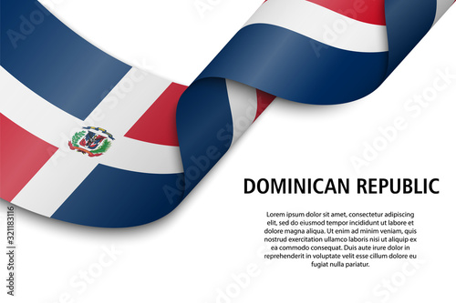 Fotomural Waving ribbon or banner with flag dominican republic