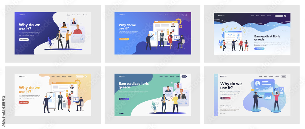 Fototapeta Set of managers discussing candidates profiles. Flat vector illustrations of people analyzing statistics. Human resource management, analytics concept for banner, website design or landing web page