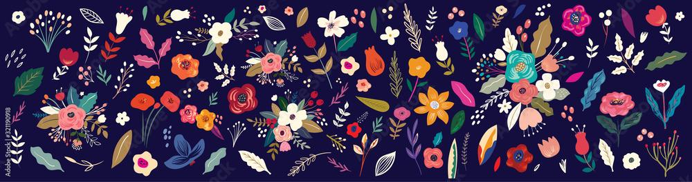 Piękna romantyczna kolekcja kwiatów z różami, liśćmi, bukietami kwiatowymi, kompozycjami kwiatowymi. Okładka notesu <span>plik: #321190918 | autor: moleskostudio</span>