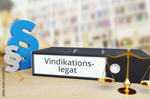Vindikationslegat – Ordner mit Beschriftung, Paragraf und Waage – Recht, Gesetz, Wallpaper Mural