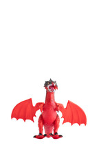 Red Dragon On White Background...