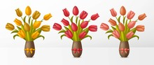 Set Of Bouquets With Tulips In...