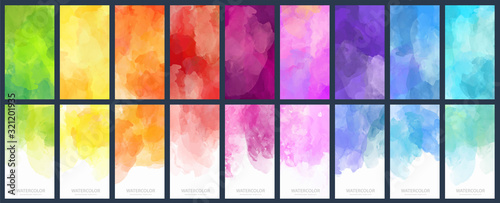 Fényképezés Big set of bright vector colorful watercolor background for poster, brochure or