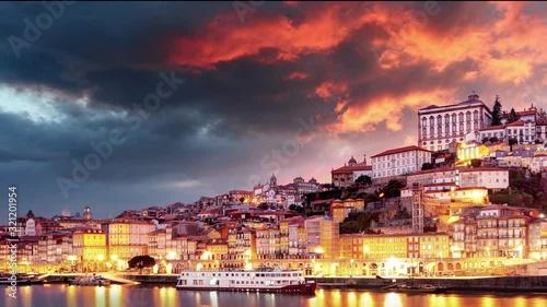 Porto city - Time lapse of sunset