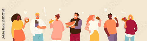 Fototapeta Group of happy people eating sweets. Body positive and enjoyment of food vector illustration obraz