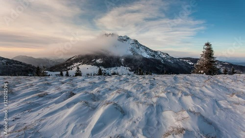 Time lapse of winter mountain  landscape  in Slovakia