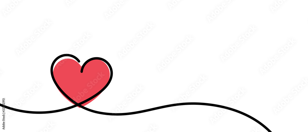 Fototapeta Valentines card with line art drawing of simple heart sign.