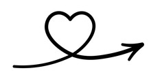 Line Art Heart With Arrow Icon. Doodle Style.
