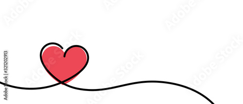 Obraz Valentines card with line art drawing of simple heart sign. - fototapety do salonu