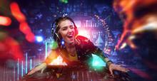 Female Dj In Nightclub. Mixed ...