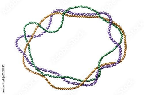 Photo holiday or mardi gras beads making frame isolated on white background