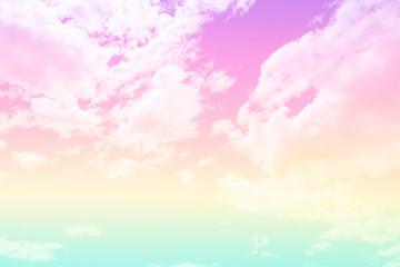 Fototapeta Optyczne powiększenie plastel sky with fluffy clouds.