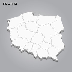 Poland 3d map with borders of regions