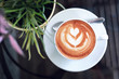 canvas print picture - hot latte coffee in cafe restaurant