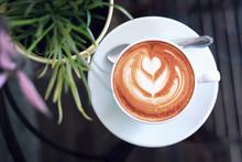 Hot Latte Coffee In Cafe Resta...