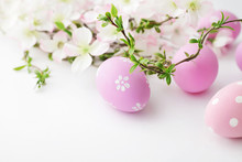 Colorful Easter Eggs And Sprin...