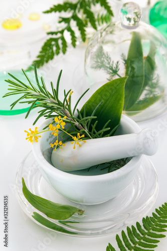 White mortar and pestle with herbs. Canvas Print