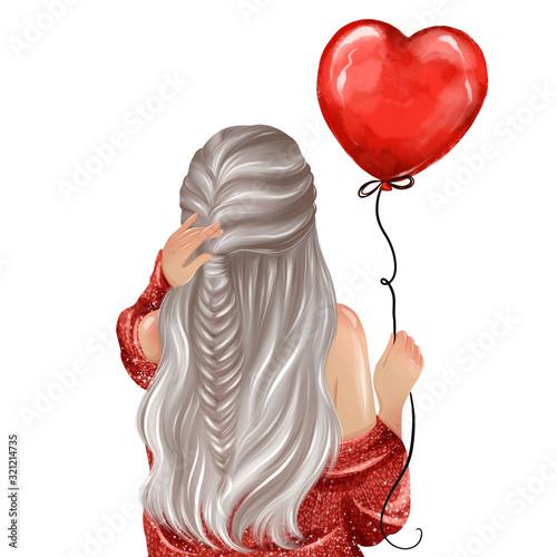 фотография Beautiful girl holding big red heart balloon