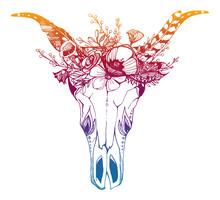 Cow, Buffalo, Bull Skull In Tr...