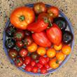 Bunte, exotische, historische Tomaten Vielfalt, von schwarz bis gestreift, süß und saftig auf einem Teller presentiert.