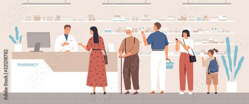 Photo Smiling cartoon pharmacist and clients in counter at pharmacy vector flat illustration