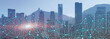 canvas print picture - Modern City skyline Digital Wireless network internet technology. Communication concept.