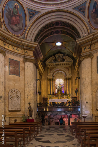 Photo Haifa, Israel, January 26, 2020: Interior and altar at the famous Stella Maris c