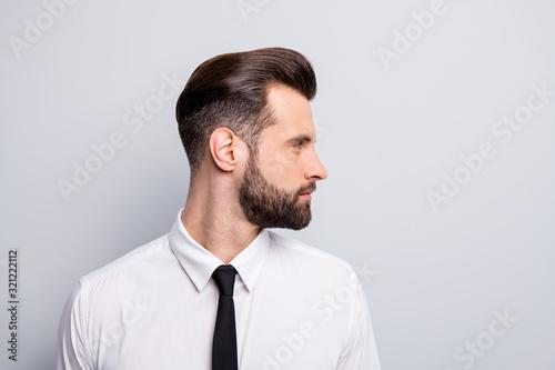 Papel de parede Closeup profile photo of attractive handsome business man looking empty space sh