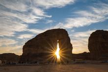 Tourists Gather At The Elephant Rock Geological Site Near Al Ula, Saudi Arabia