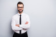 Photo of handsome young business man bossy crossed arms friendly smiling meet colleagues partners wear specs white office shirt black trousers tie isolated grey color background