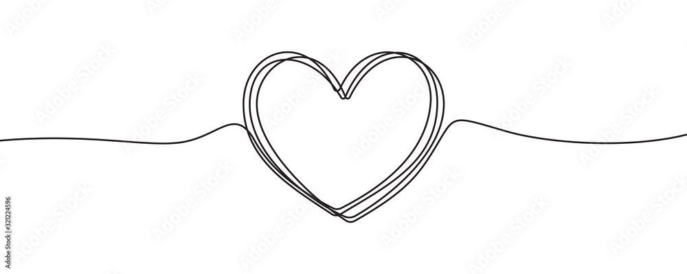 Fototapeta Heart sketch doodle, vector hand drawn heart in tangled thin line thread divider isolated on white background. Wedding love, Valentine day, birthday or charity heart, scribble shape design