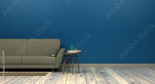 Fototapeta szablon makieta tło w nowoczesnym projekcie wnętrza classic blue kolor roku 2020 pusta ściana po prawej stronie rendering 3d obraz