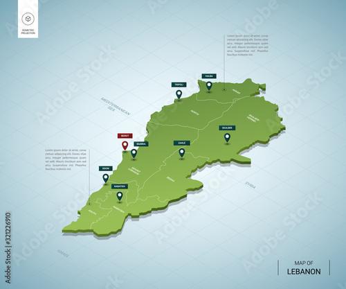 Photo Stylized map of Lebanon