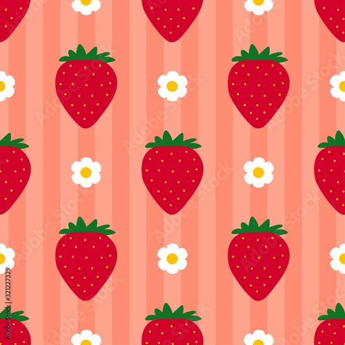 Strawberry pattern. Seamless striped background with drawn berry. Red fruit. Flat cartoon style. Great for kitchen, tablewear, fabric, textile. Vector