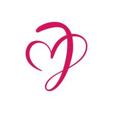 Vector Vintage Floral Monogram Letter J. Calligraphy Element Heart Logo Valentine Card Flourish Frame. Hand Drawn Love Sign For Page Decoration And Design Illustration