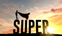 Silhouette Of Superhero Woman Stood On The Word Super. 3D Rendering