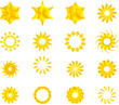 Golden yellow color stars, mandala, flowers, snow flakes vector pack.