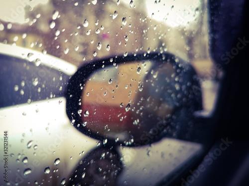 Fototapeta Drops of water on a car glass. obraz