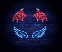 Illuminated Neon Heart With Angel Wings And Halo
