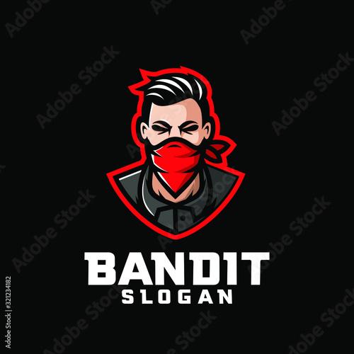 Photo bandit character logo icon design cartoon with red bandana